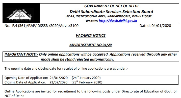 DSSSB PGT TGT Recruitment 2020 Notification